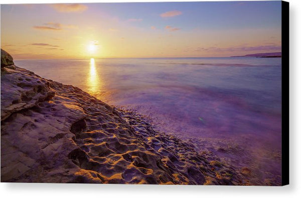 Purple And Gold Sunset At Sunset Cliffs, San Diego - Canvas Print