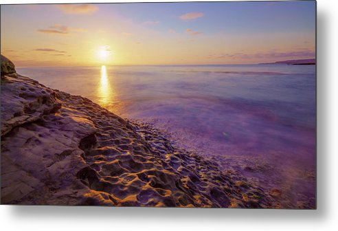 Purple And Gold Sunset At Sunset Cliffs, San Diego - Metal Print
