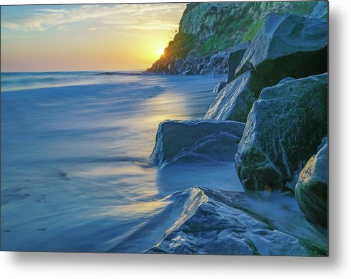 Rocky Sunset In Encinitas, California - Metal Print