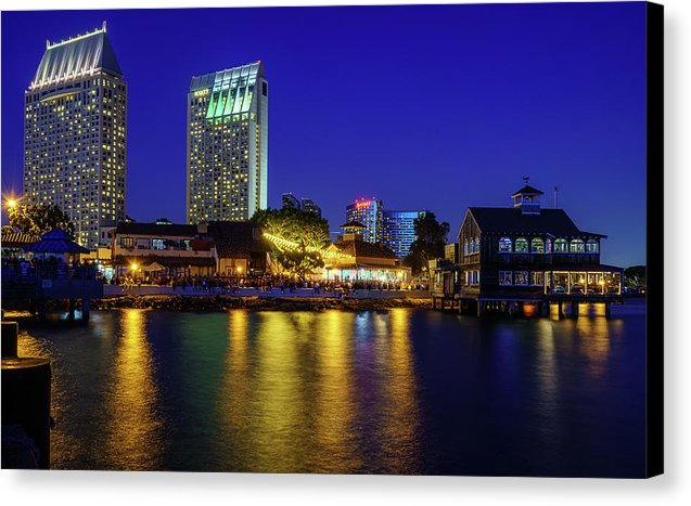Seaport Village, San Diego At Night.  - Canvas Print