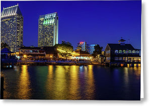 Seaport Village, San Diego At Night.  - Greeting Card
