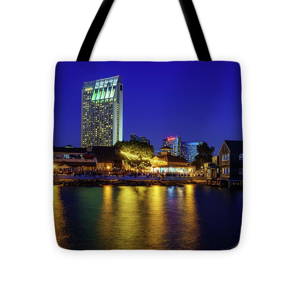 Seaport Village, San Diego At Night.  - Tote Bag