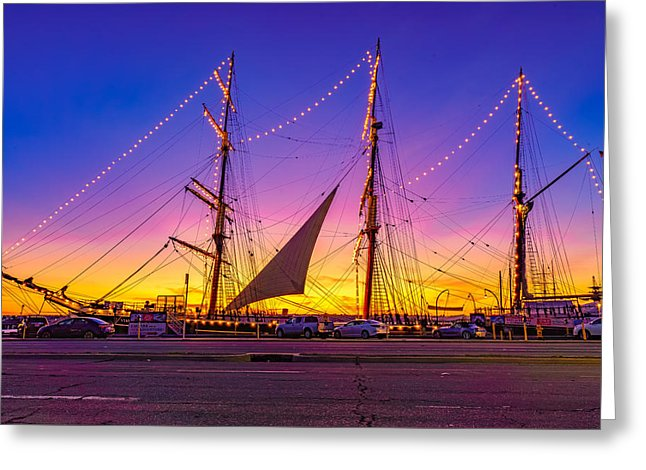 Star Of India With Sails In San Diego, California At Sunset - Greeting Card