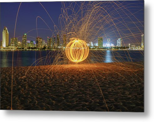 Steel Wool Display At Coronado Beach, San Diego - Large Metal Print