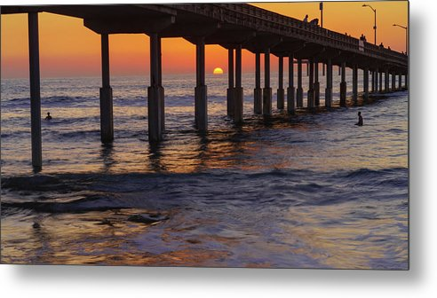 Sunset By The Pier In Ocean Beach, San Diego - Metal Print