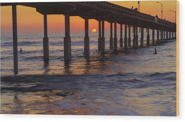 Sunset By The Pier In Ocean Beach, San Diego - Wood Print