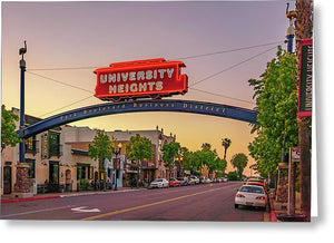 University Heights Sign In San Diego, California - Greeting Card