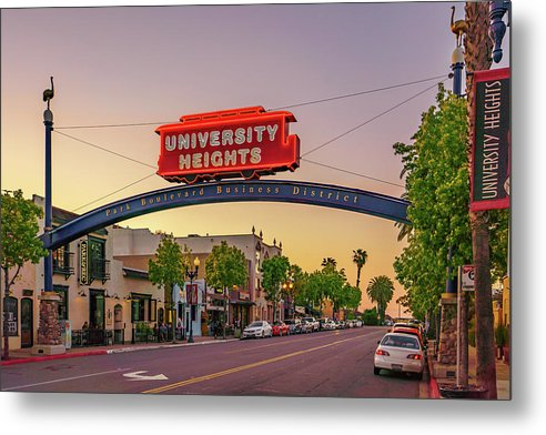 University Heights Sign In San Diego, California - Metal Print