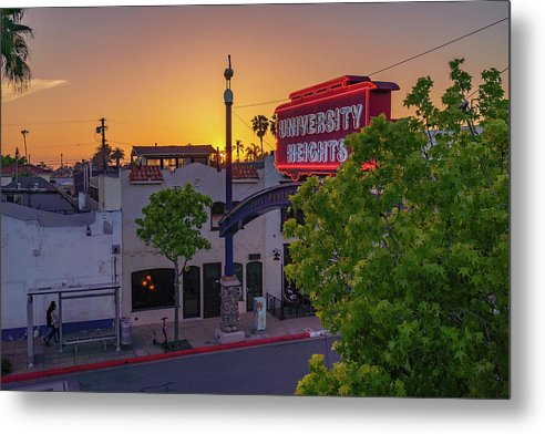 University Heights Sign In San Diego, California Sunset - Metal Print