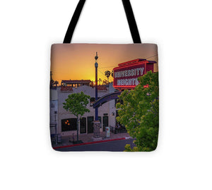 University Heights Sign In San Diego, California Sunset - Tote Bag
