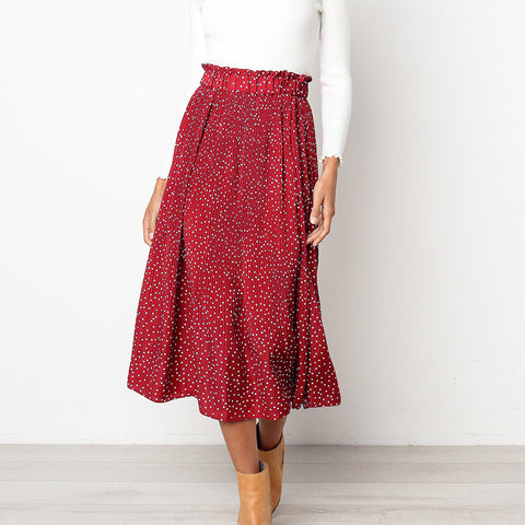 Elastic High Waist White Dots Floral Print Pleated Midi Skirt for Women