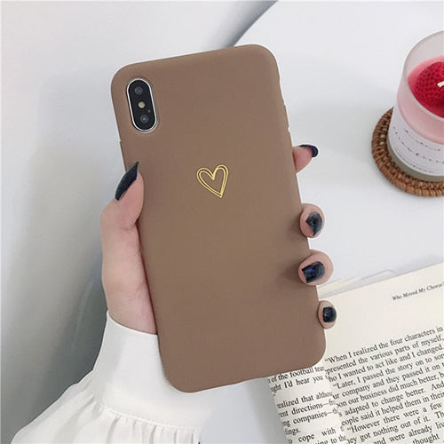 CLASSY Electroplate Heart Vintage Cute Candy Color Soft Cover for iPhone XR XS Max 6 6s 7 8 Plus X