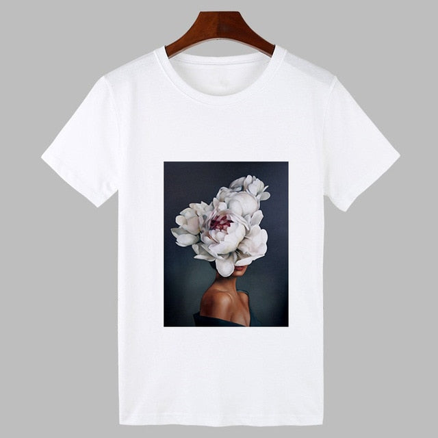 Sexy Flowers Feather Printed O-neck Short Sleeve T-shirt for Women