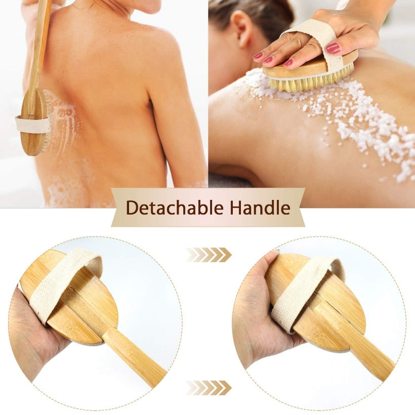 Natural Bristle Shower Brush - Remove Dead Skin & Toxins, Cellulite Treatment Massage Brush