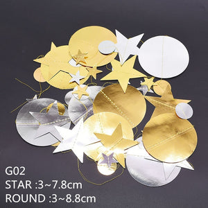 ATTRACTIVE 4m Mirror Paper Star & Round Shape Gold Garland Flash Banner for Decoration
