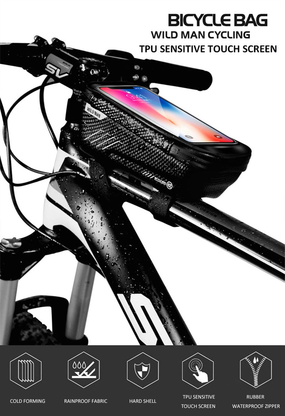 BEST SELLING Rainproof Bicycle Top Tube Bag for Mobile Phone Case