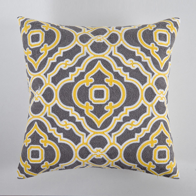 Geometric Floral Canvas Cotton Square Home Decor Embroidered Cushion Cover