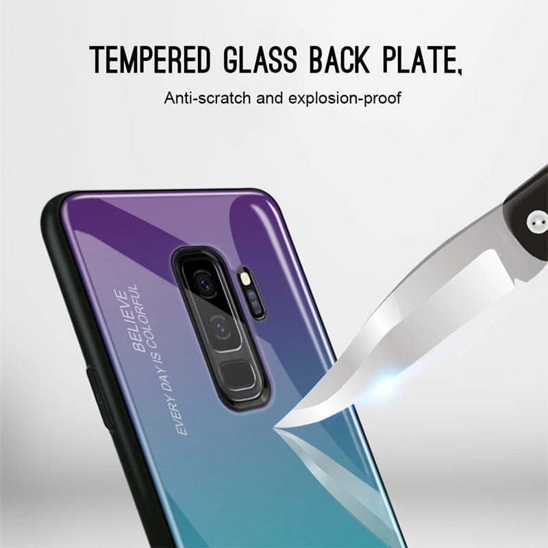 Gradient Tempered Glass Case for Samsung Galaxy A50 A70 S8 S9 S10 Plus Note 9 8 S10e A 30 40 20 A20e 10 A7 2018