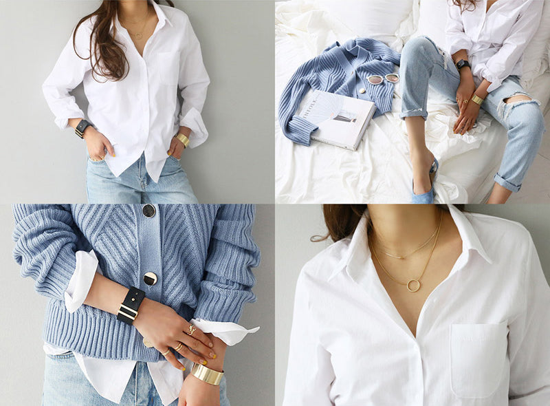 Sexy Long Sleeve Casual Turn-down Collar Loose White Shirt with One Pocket for Women