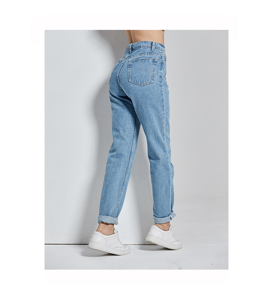 Full Length Vintage High Waist Denim Jeans for Women