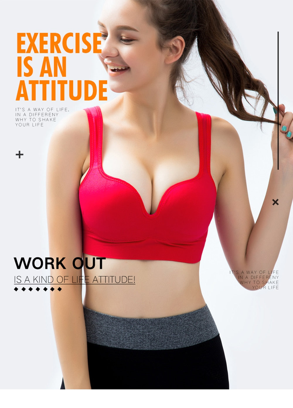 Solid Pattern Push up Wire Free Seamless Full Cup Sports Bra
