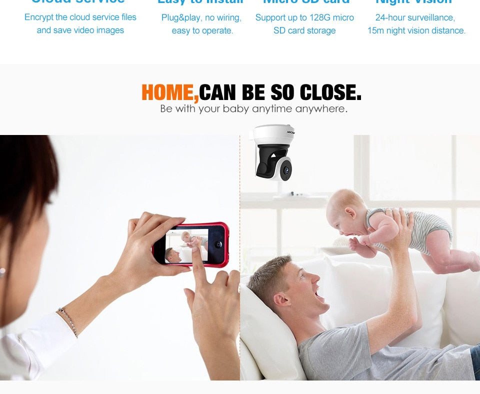 NEW 2 Way Audio Smart Wireless Baby Security Camera with Motion Detection