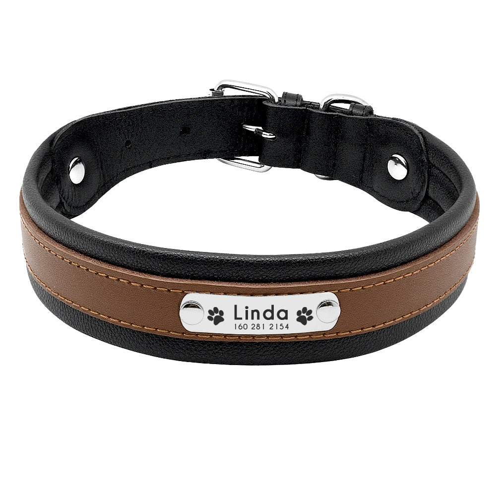 Solid Pattern Genuine Leather with Customized Pet Name ID Collar for Medium/Large Dogs
