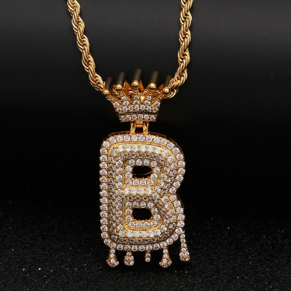 Fashionable Custom Crown Bail Drip Bubble Initial Letters Chain Necklaces for Men / Women