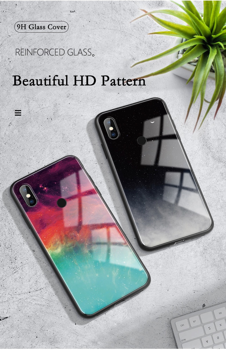 Colourful Tempered Glass Cover Phone Case for Xiaomi Redmi 7 5 Plus K20 S2 Note 4 4X 5 6 7 Pro
