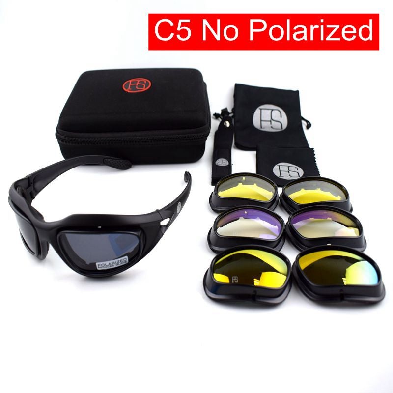 UV Protection Tactical X7 Polarized Sunglasses with 4 Lens for Hunting/Shooting
