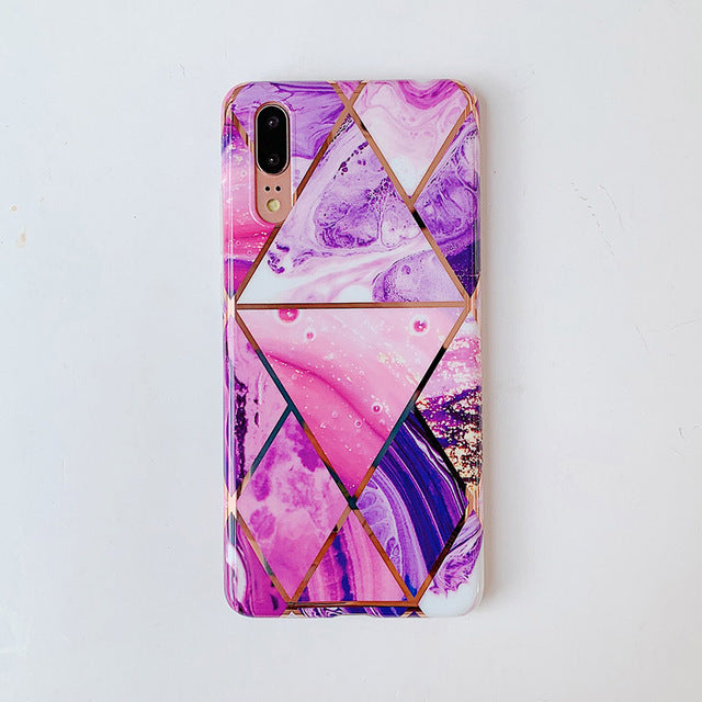 Electroplate Geometric Marble Phone Case for Huawei P20 P30 Pro Lite Mate 20 Pro Lite