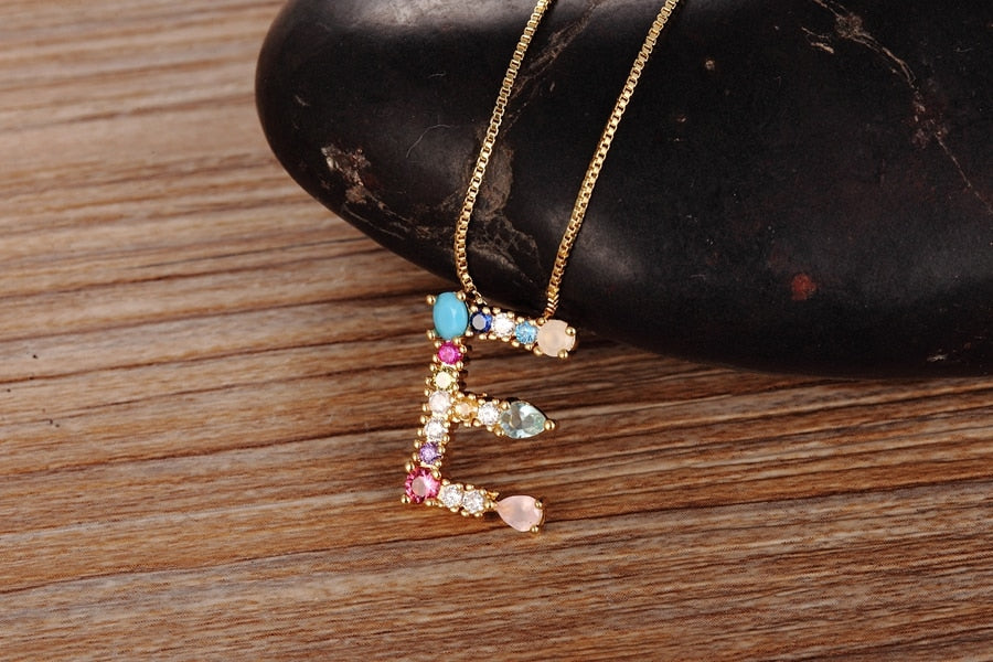 HOT SELLING Gold Color CZ Necklace with Personalized Letter for Women