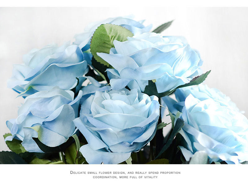 High Quality French Rose Silk Artificial Flowers Bouquet for Home/Party/Wedding Decoration