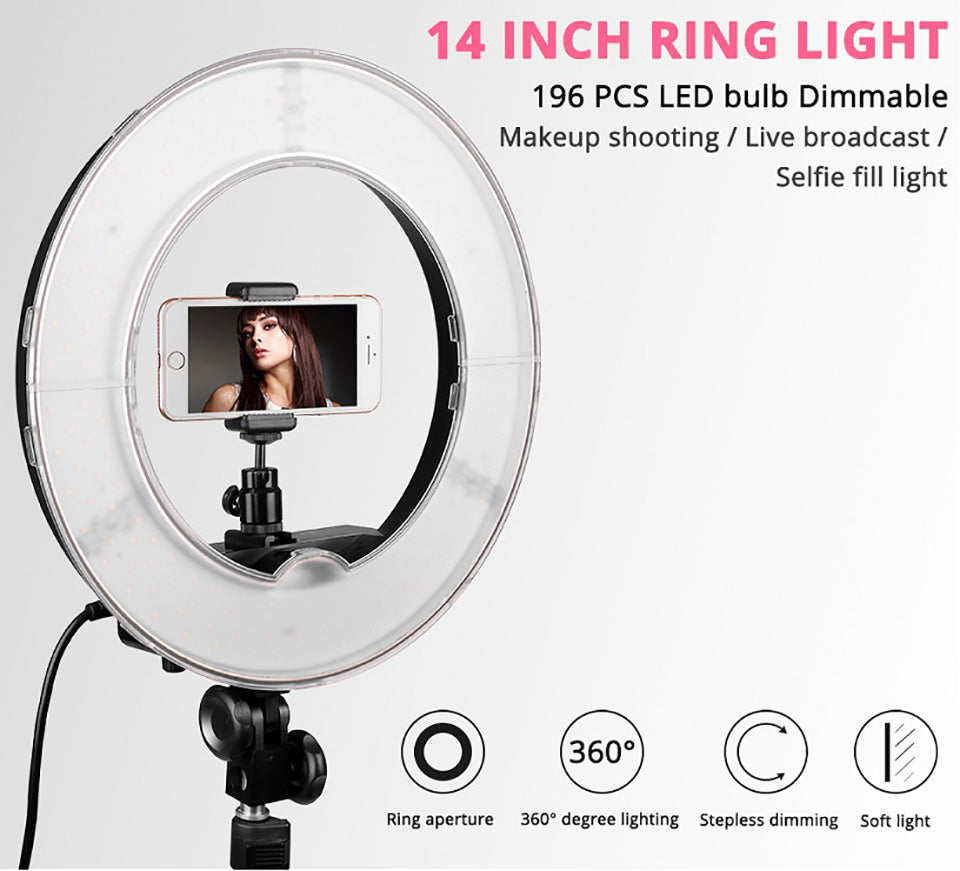 14 Inch Dimmable 5500K LED Ring Light With Tripod For Studio Photography YouTube Photo Makeup