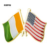 U.S.A and India Friendship Flag Metal Pin Badges Decorative Brooch Pins for Cloth