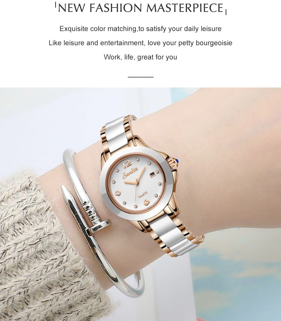 Fashionable Rose Gold Waterproof Quartz Watches For Women