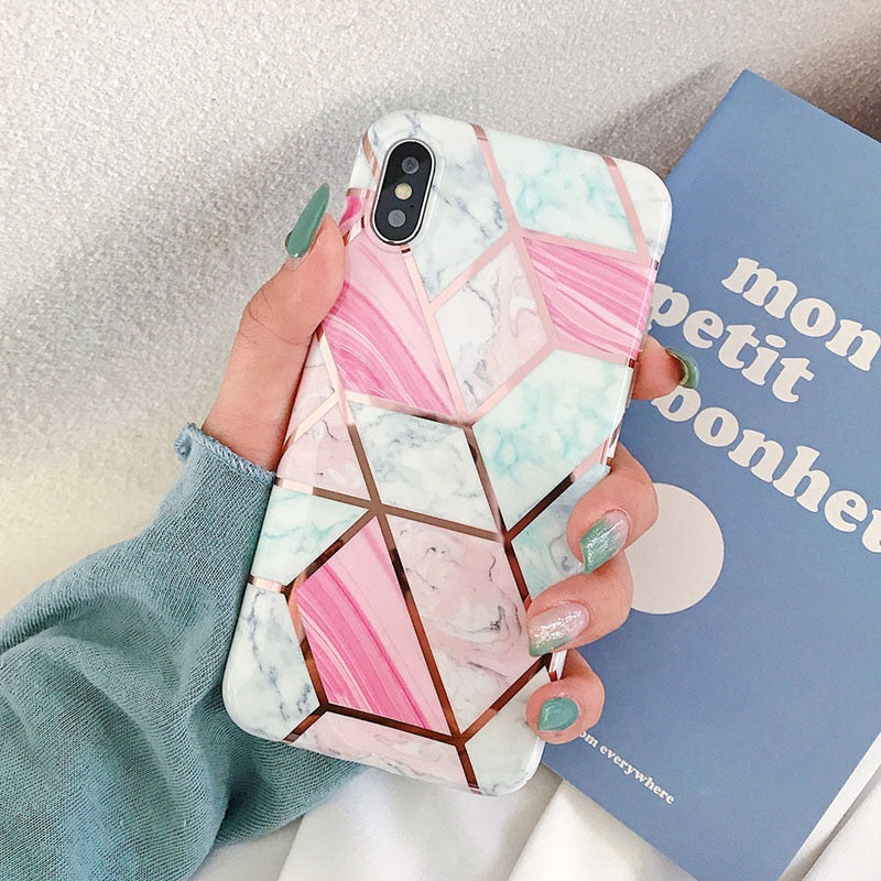 Electroplated Geometric Marble Texture Phone Case for iPhone XR XS Max 6 6S 7 8 Plus X