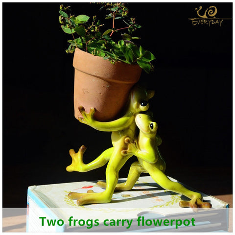 Creative Design Animal Frog Mini Flower Pot for Indoor Outdoor Decoration