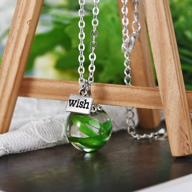 Handmade Dandelion Resin Transparent Pendant Necklace for Women