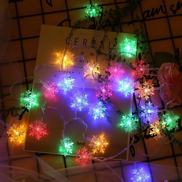 LED Snowflake Fairy String Lights for Outdoor Decoration