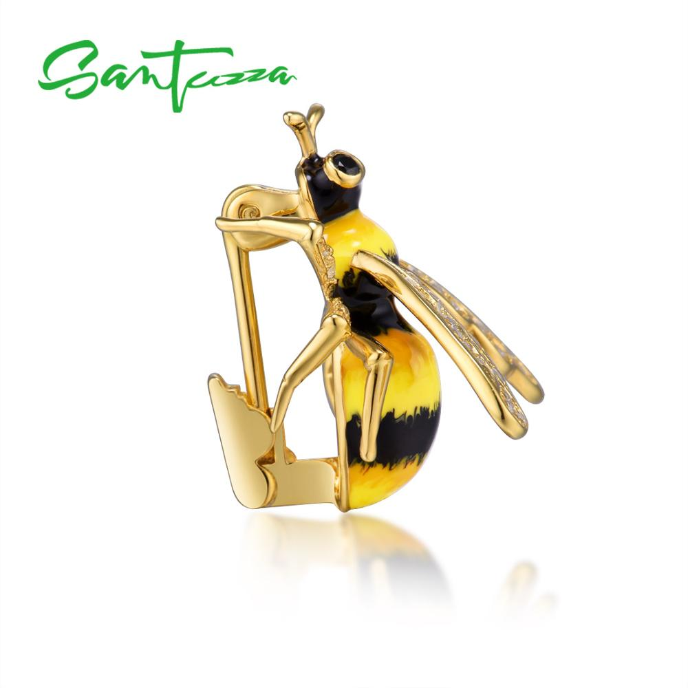 Authentic 925 Sterling Silver Chic Gold Color Yellow Bee Brooch for Women