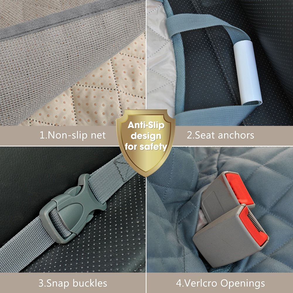Designer & Waterproof Car Seat Protector with Zipper & Pockets for Pets