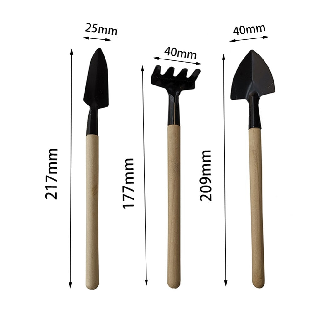 1 Set Wood Handle with Metal Head Mini Digging Tools/Gardening Tools
