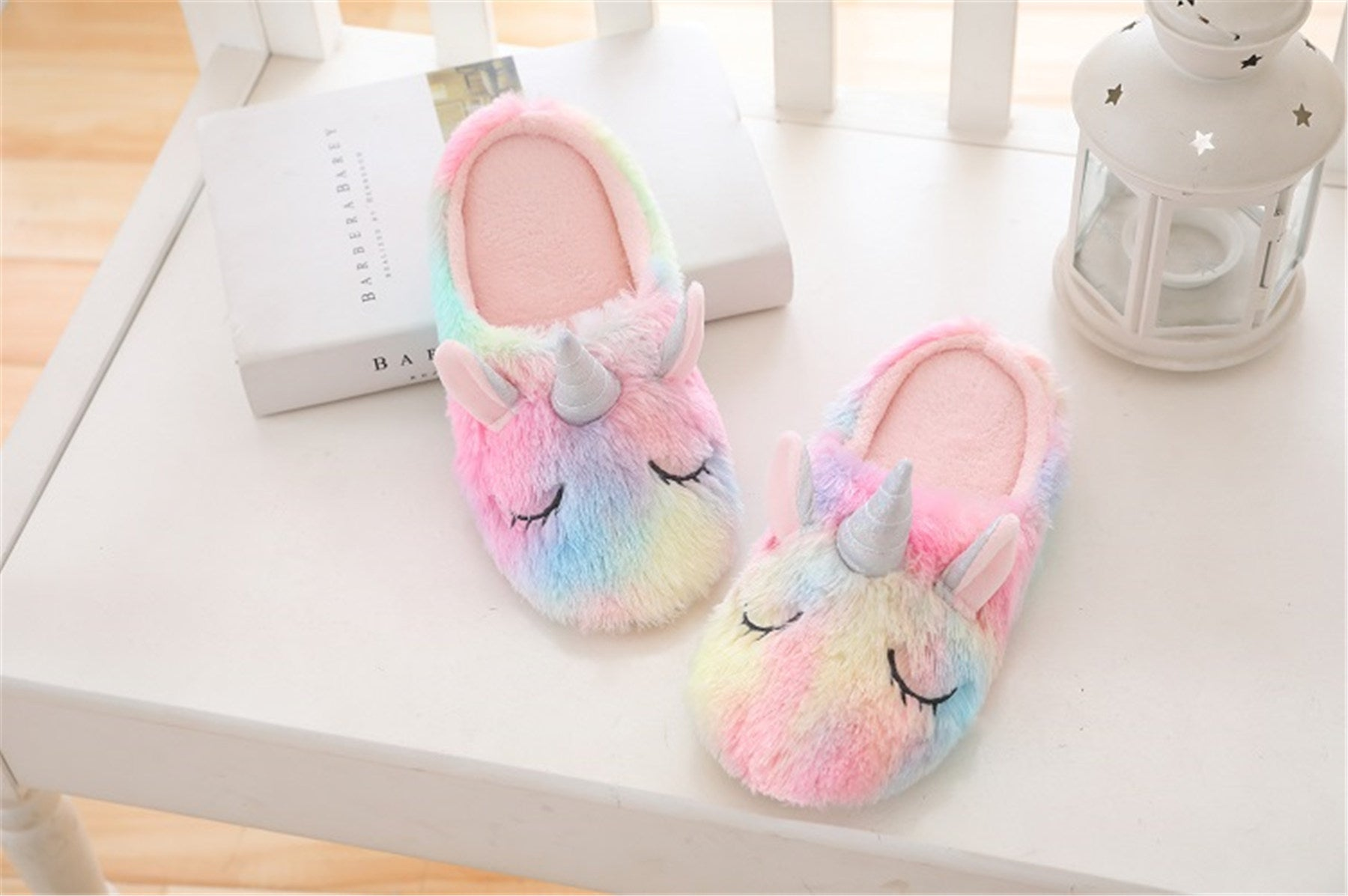 Multicolor Unicorn Cartoon Rainbow Plush Slippers for Women
