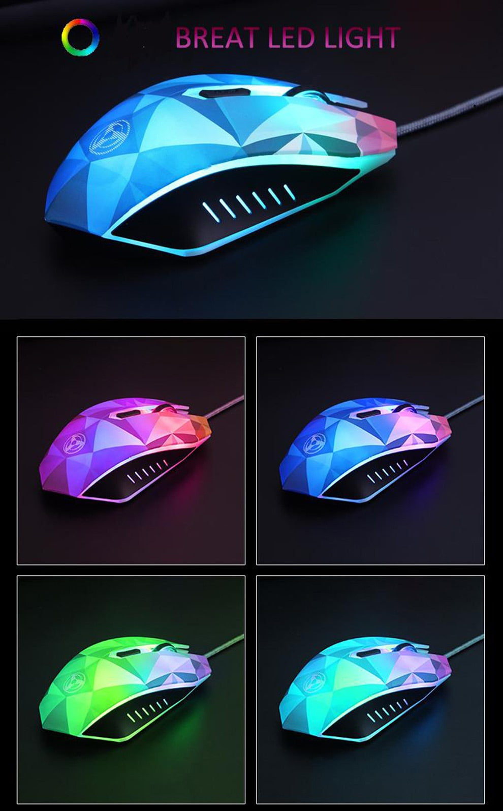 Colorful Circular & Breathing LED Light Wired Gaming Mouse