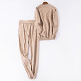 Women's Casual Full Length Knitted 2PCS Clothing Set