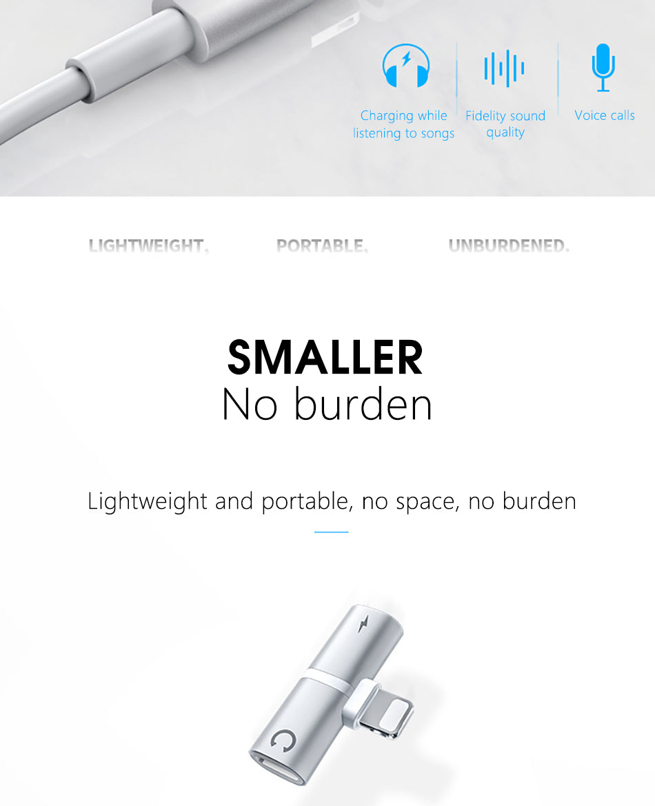 Portable & Easy to Carry 3 in 1 Dual Lighting Charger Cable Adapter Connector For iPhone X 7 8 Plus