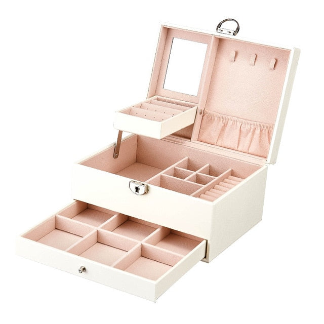 Korean Multi-layer Multi-Function Large Capacity Leather Jewelry Box