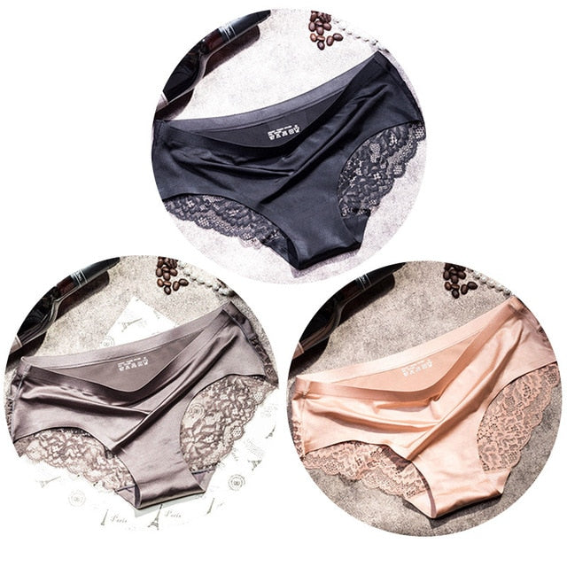 High Quality 3pcs/lot Sexy Lace Seamless Cotton Panties for Women