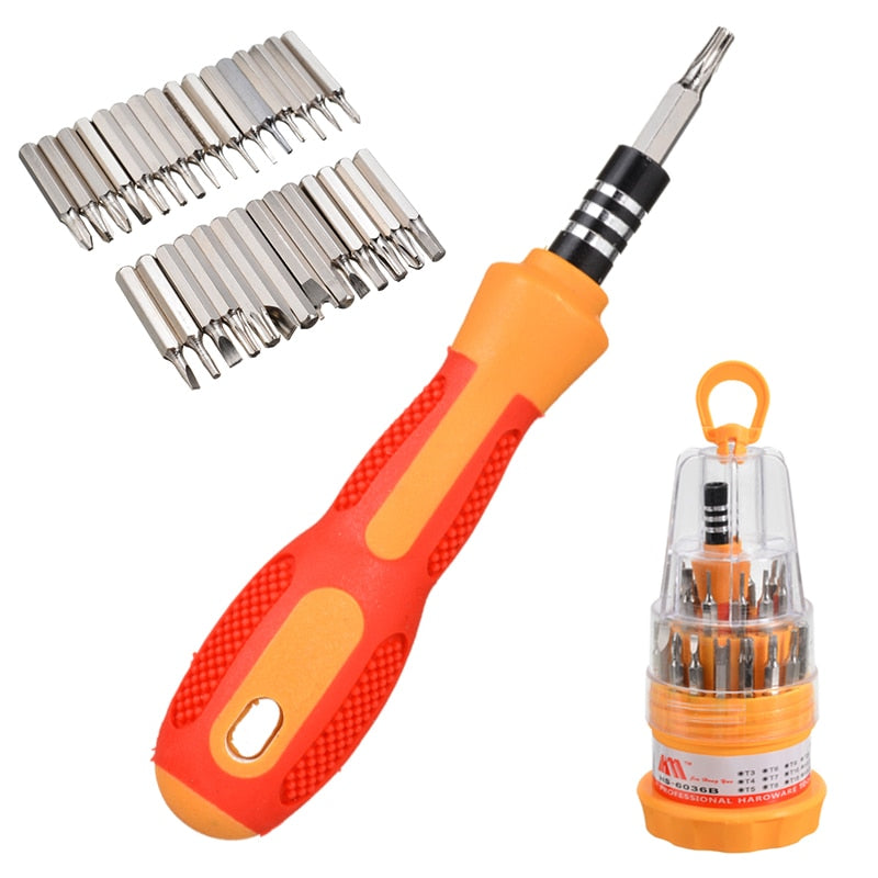 Multi 31 in1 Magnetic Mini Screwdriver Bits Hand DIY Repair Trox Screw Driver Tool Kits